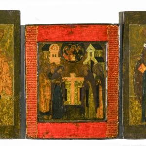 Икона-складень «Явление Богоматери преподобному Сергию Радонежскому». 1588 г. СПМЗ
