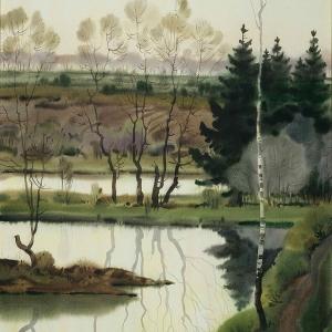 А.Д.Шмаринов. Зеленый вечер на реке.1995., Бумага, акварель,76х56