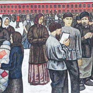 Г.С.Мызников. Стачка 1964 Холст, темпера 155х282 Государственная Третьяковская галерея