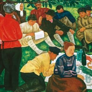 Г.С.Мызников. Маевка. 1964 Холст, темпера.  180х250 Серпуховской историко-художественный музей