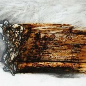 А. Пашт-Хан. Пара. 2000 г. Уголь, бумага, битум, полиэтилен