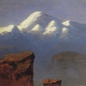 Вершина Эльбруса, освещенная солнцем. 1908 г.