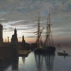 Л.Ф.Лагорио. Вид на Академию художеств с Невы. 1880.