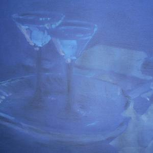 М.М.Мечев (1929-2018).Натюрморт.Аперитив.2014. Бумага, смешанная техника,25х32