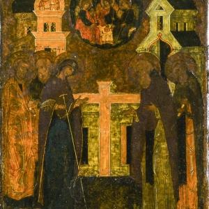 Икона «Явление Богоматери преподобному Сергию Радонежскому». 1588 г. СПМЗ.