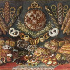 И.Г.Машков. Российские хлебы.  2018г.  Холст, масло  120х140см