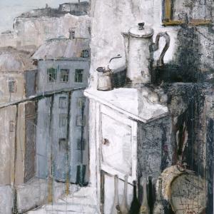 Балкон и кофейник. 2000. Бумага, гуашь. 100х80