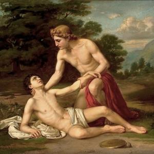 А.Киселев. Умирающий на руках Аполлона Гиацинт.