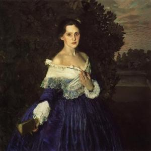 К.А.Сомов. Дама в голубом. (Портрет Е.М.Мартыновой). 1897-1900. ГТГ.