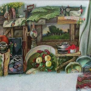 А.П.Рыбкин.Мой старый добрый дом.2017 г. Х.м.170х300.