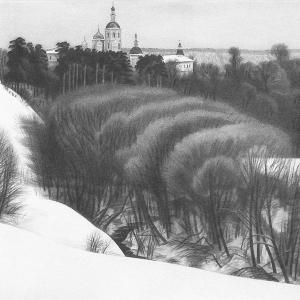 В.В.Дранишников (1936-2019). Серия «Снега России», Над зимней речкой.- бум., карандаш, 1987-1997