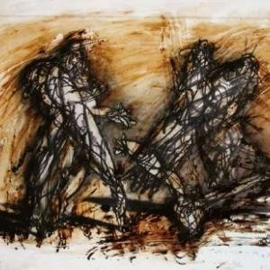 А. Пашт-Хан. Группа.2000 г. Уголь, бумага, битум, полиэтилен