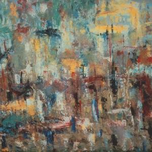 Владимир Немухин. Весна в городе. 1958. Холст, масло. 80х120. Коллекция А.Лахмана