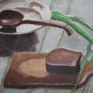 М.М.Мечев (1929-2018). Скоро нальют суп. 2012. Картон, гуашь. 33х46