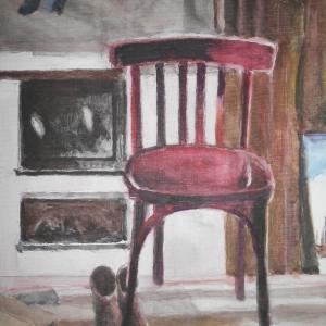 М.М.Мечев (1929-2018). В мастерской на Бараньем Берегу. 2014. Холст, смешанная техника. 35х25.