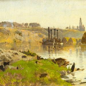 И.И. Левитан. На реке (Пароход на Волге). Этюд. 1886-1890