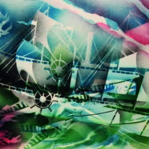 С.В. Цигаль. Из серии «Парусники».Смешанная техника. 61х86, 2003
