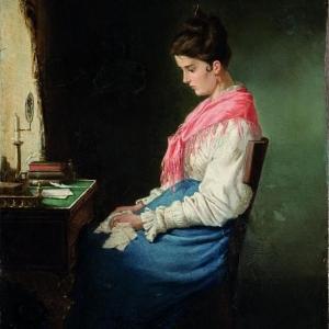 Михаил Петрович Клодт. Девушка за письменным столом. 1874. Холст, масло.