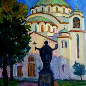 П.В. Илюшкина. Храм Св. Саввы в Белграде на закате. 2017