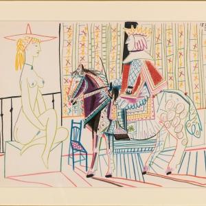 Выставка «Париж для своих. Пабло Пикассо, Марк Шагал, Зураб Церетели» в Москве. П.Пикассо. Наездник и обнаженная женщина. 1954