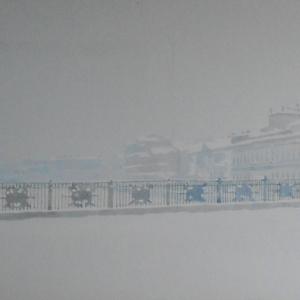 М.М.Мечев (1929-2018). Застывшая Фонтанка. 2008. Картон,гуашь.20х55
