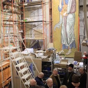 Заседание комиссии по приему этапов оформления внутреннего убранства собора св.Саввы в Белграде.