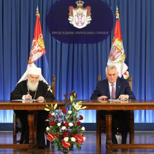 Подписание договора пожертвования на реализацию проекта мозаичного убранства главного купола Храма Св.Саввы в Белграде.